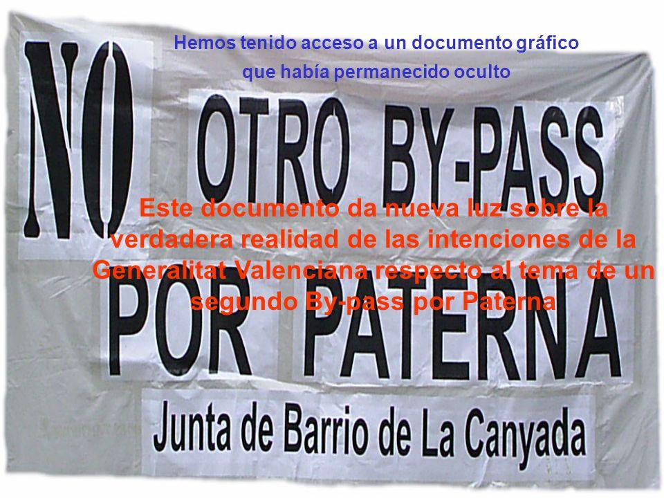 Hemos tenido acceso a un documento gráfico que había permanecido oculto Este documento da nueva luz sobre la verdadera realidad de las intenciones de la Generalitat Valenciana respecto al tema de un segundo By-pass por Paterna