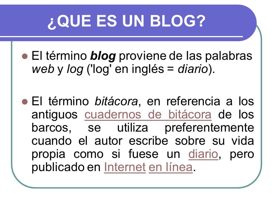 ¿QUE ES UN BLOG? El término blog proviene de las palabras web y log ('log' en inglés = diario). El término bitácora, en referencia a los antiguos cuad