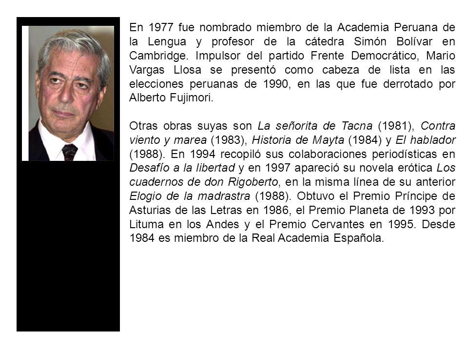 En 1977 fue nombrado miembro de la Academia Peruana de la Lengua y profesor de la cátedra Simón Bolívar en Cambridge.