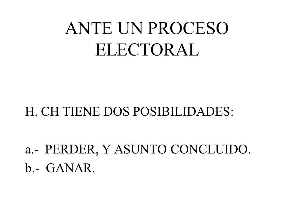 ANTE UN PROCESO ELECTORAL H. CH TIENE DOS POSIBILIDADES: a.- PERDER, Y ASUNTO CONCLUIDO. b.- GANAR.