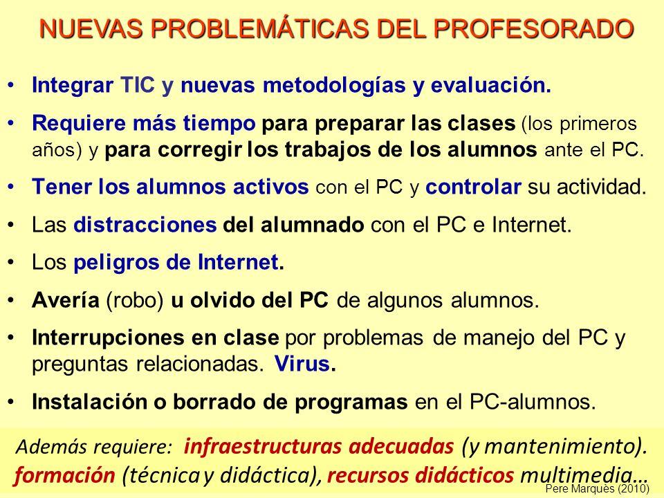 Integrar TIC y nuevas metodologías y evaluación. Requiere más tiempo para preparar las clases (los primeros años) y para corregir los trabajos de los