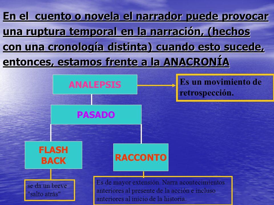 En el cuento o novela el narrador puede provocar una ruptura temporal en la narración, (hechos con una cronología distinta) cuando esto sucede, entonc