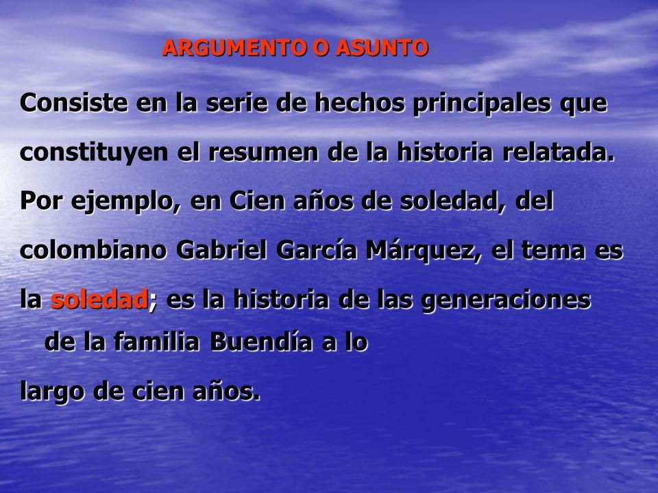ARGUMENTO O ASUNTO Consiste en la serie de hechos principales que el resumen de la historia relatada. constituyen el resumen de la historia relatada.