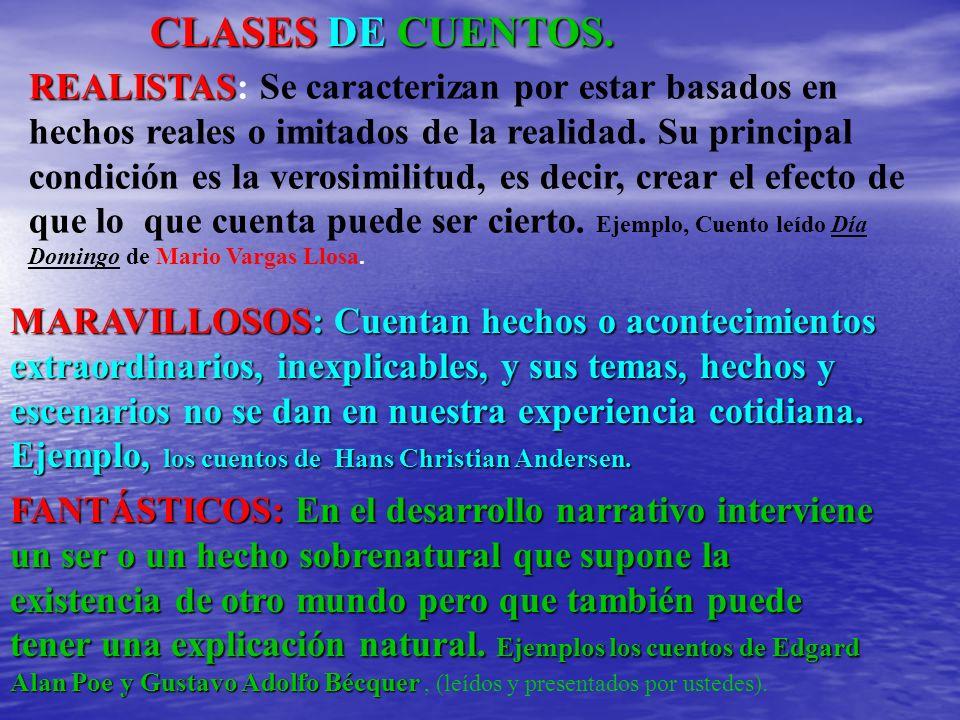 CLASES DE CUENTOS. REALISTAS REALISTAS: Se caracterizan por estar basados en hechos reales o imitados de la realidad. Su principal condición es la ver