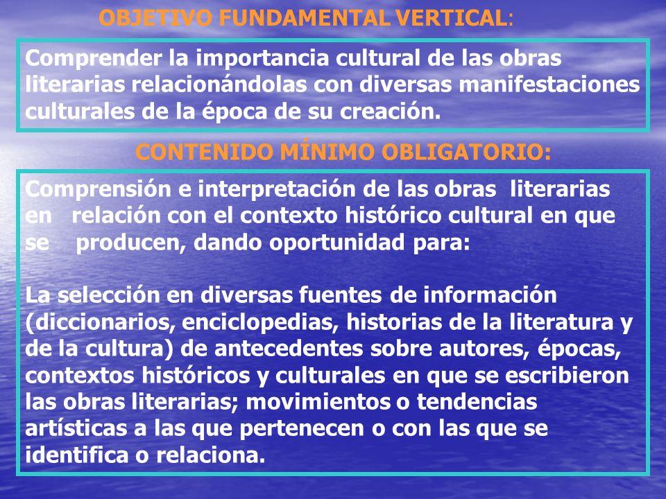 Comprender la importancia cultural de las obras literarias relacionándolas con diversas manifestaciones culturales de la época de su creación. OBJETIV