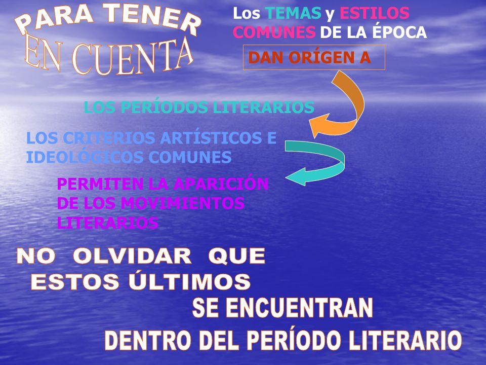 Los TEMAS y ESTILOS COMUNES DE LA ÉPOCA DAN ORÍGEN A LOS PERÍODOS LITERARIOS LOS CRITERIOS ARTÍSTICOS E IDEOLÓGICOS COMUNES PERMITEN LA APARICIÓN DE L