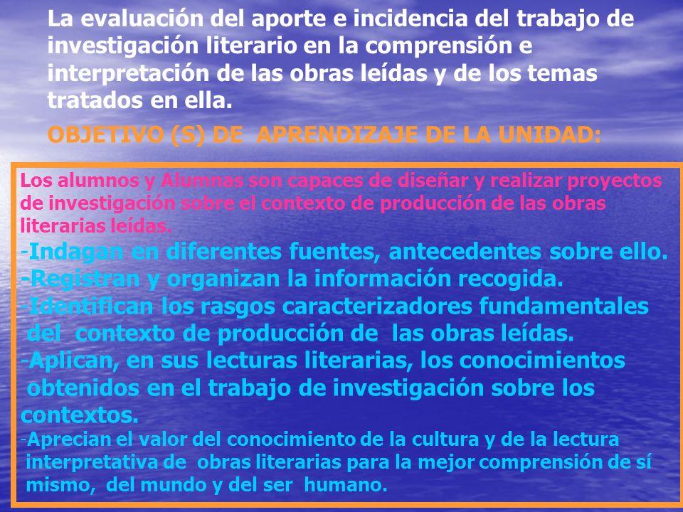 La evaluación del aporte e incidencia del trabajo de investigación literario en la comprensión e interpretación de las obras leídas y de los temas tra