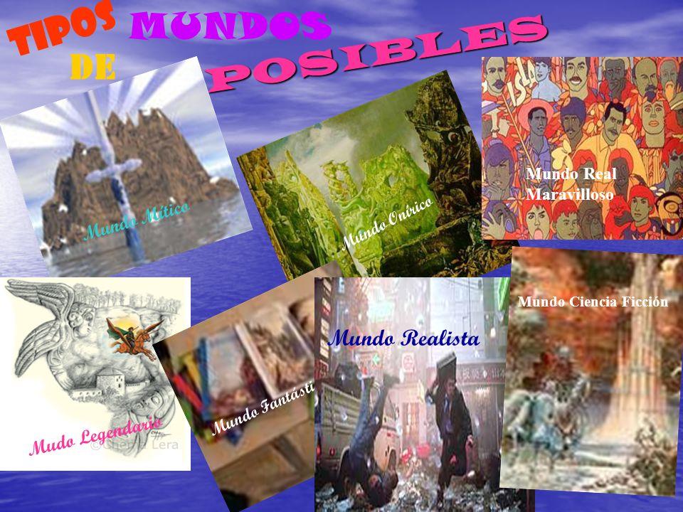 P O S I B L E S TIPOS DE MUNDOS Mundo Mítico Mundo Onírico Mudo Legendario Mundo Fantástico Mundo Realista Mundo Real Maravilloso Mundo Ciencia Ficció