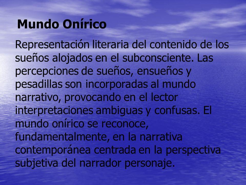 Representación literaria del contenido de los sueños alojados en el subconsciente. Las percepciones de sueños, ensueños y pesadillas son incorporadas