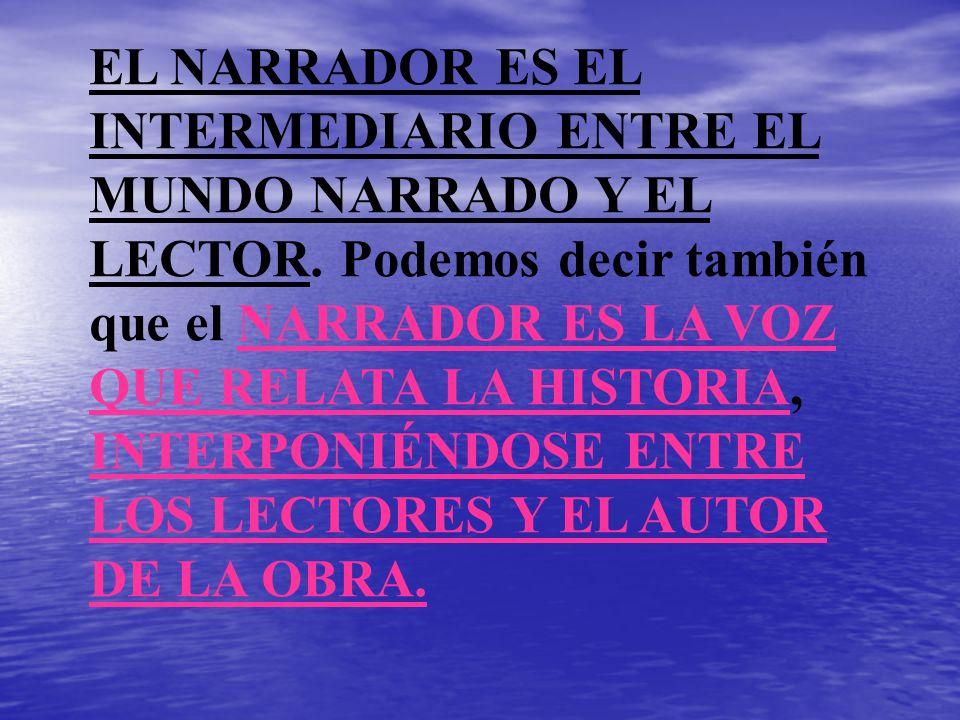 EL NARRADOR ES EL INTERMEDIARIO ENTRE EL MUNDO NARRADO Y EL LECTOR. Podemos decir también que el NARRADOR ES LA VOZ QUE RELATA LA HISTORIA, INTERPONIÉ