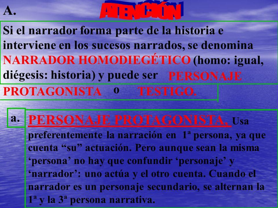 Si el narrador forma parte de la historia e interviene en los sucesos narrados, se denomina NARRADOR HOMODIEGÉTICO (homo: igual, diégesis: historia) y