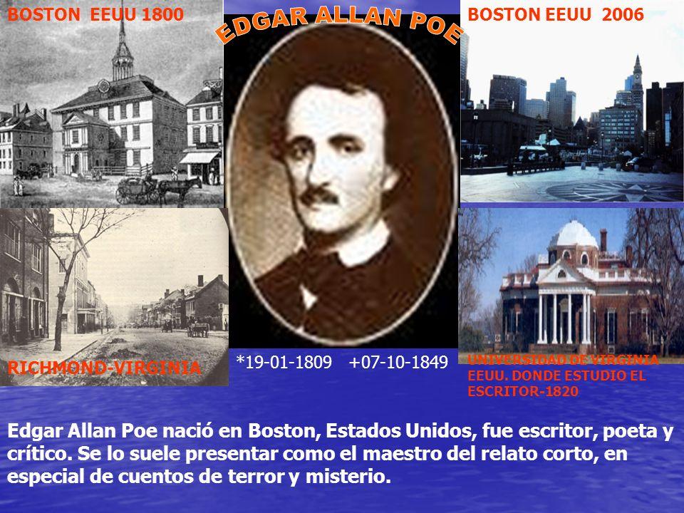 BOSTON EEUU 1800BOSTON EEUU 2006 RICHMOND-VIRGINIA UNIVERSIDAD DE VIRGINIA EEUU. DONDE ESTUDIO EL ESCRITOR-1820 *19-01-1809 +07-10-1849 Edgar Allan Po