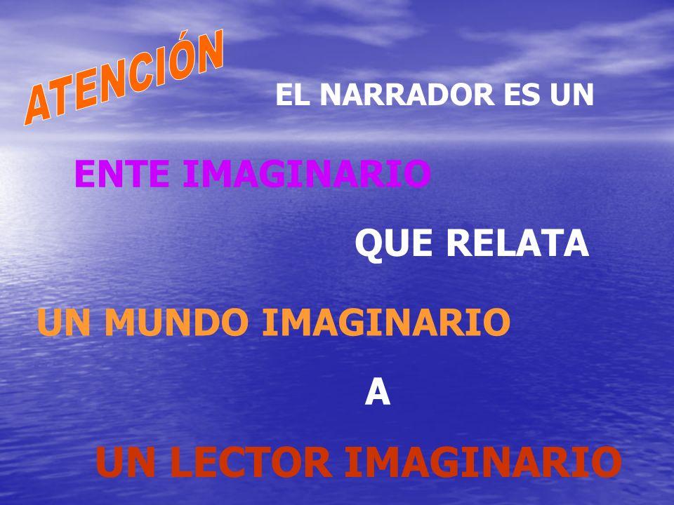 UN LECTOR IMAGINARIO EL NARRADOR ES UN ENTE IMAGINARIO QUE RELATA UN MUNDO IMAGINARIO A