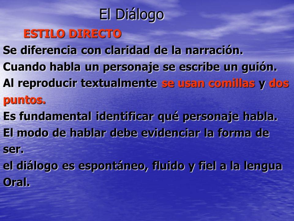 El Diálogo ESTILO DIRECTO ESTILO DIRECTO Se diferencia con claridad de la narración. Cuando habla un personaje se escribe un guión. Al reproducir text