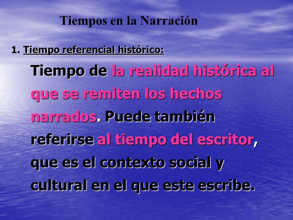Tiempo referencial histórico: 1. Tiempo referencial histórico: Tiempo de la realidad histórica al que se remiten los hechos narrados. Puede también re