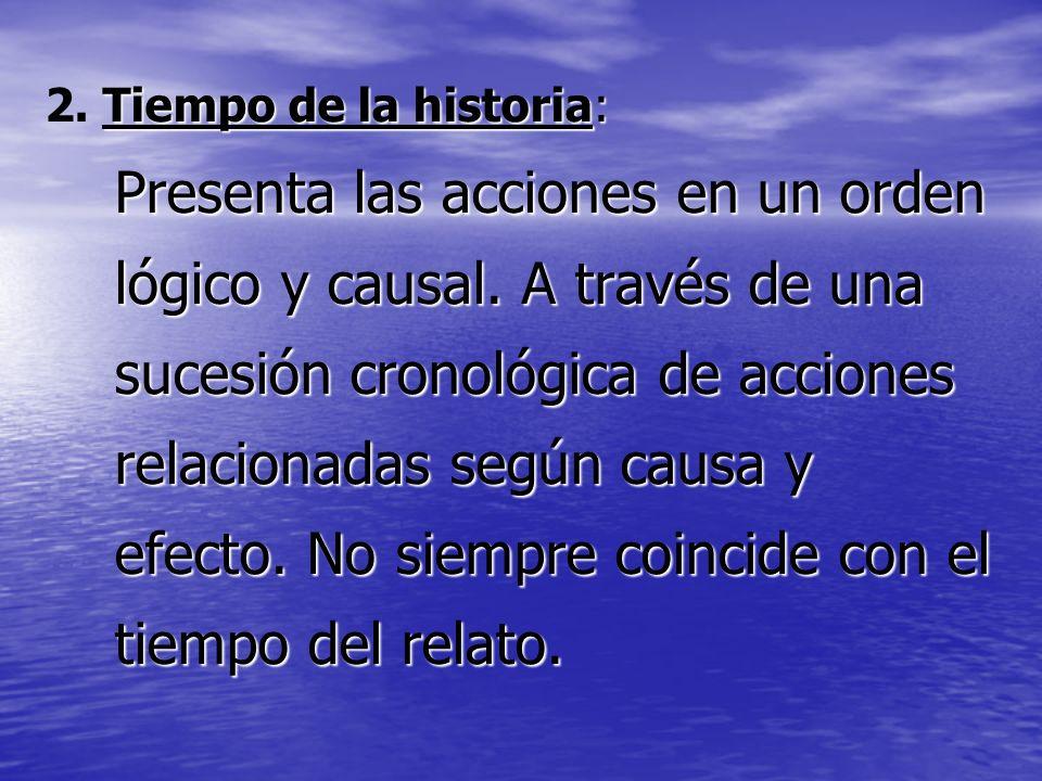 Tiempo de la historia: 2. Tiempo de la historia: Presenta las acciones en un orden lógico y causal. A través de una sucesión cronológica de acciones r