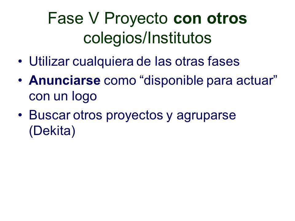 Fase V Proyecto con otros colegios/Institutos Utilizar cualquiera de las otras fases Anunciarse como disponible para actuar con un logo Buscar otros proyectos y agruparse (Dekita)
