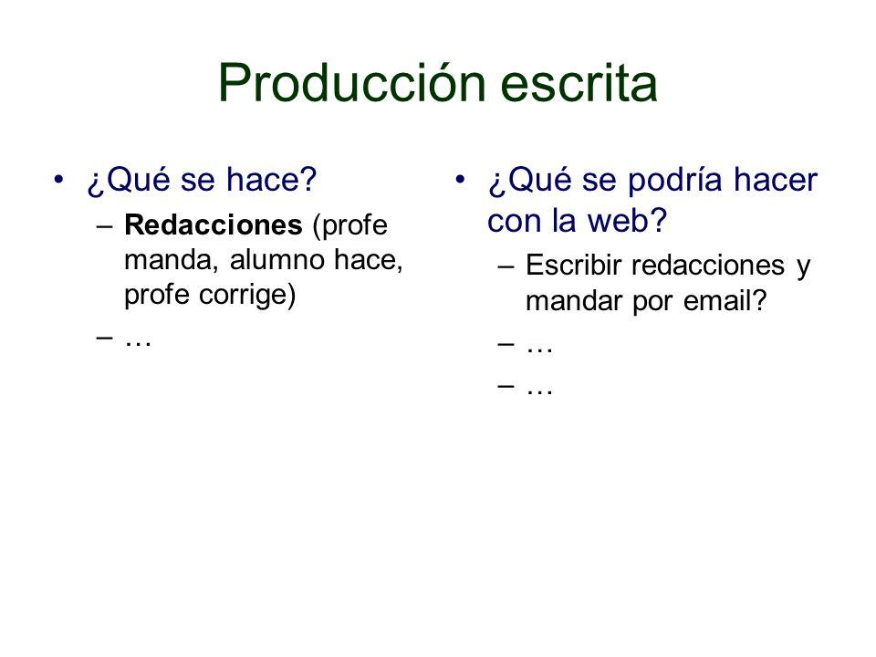 Producción escrita ¿Qué se hace.