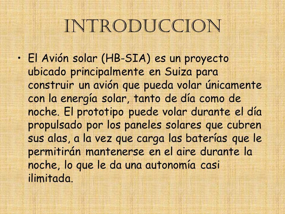 INTRODUCCION El Avión solar (HB-SIA) es un proyecto ubicado principalmente en Suiza para construir un avión que pueda volar únicamente con la energía