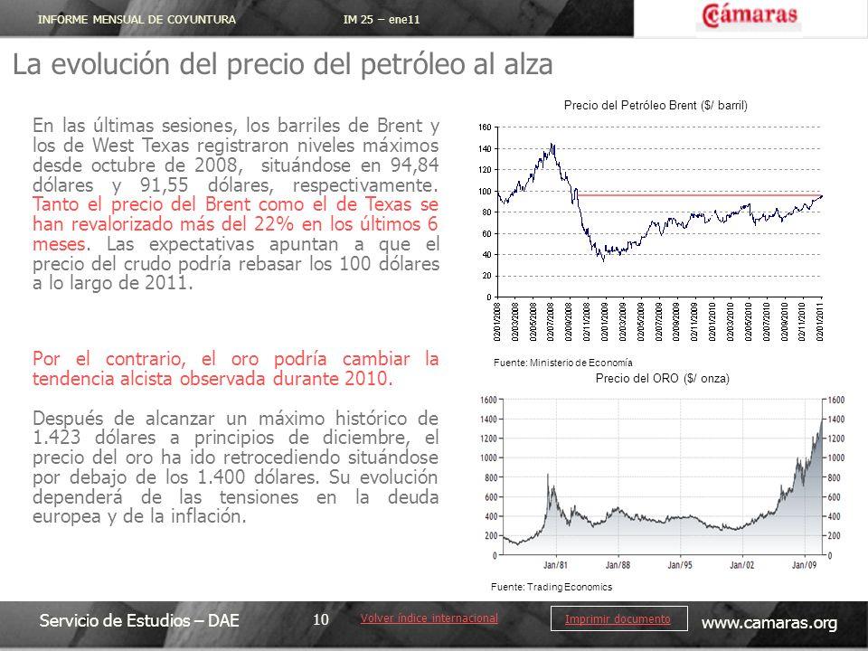 INFORME MENSUAL DE COYUNTURA IM 25 – ene11 Servicio de Estudios – DAE www.camaras.org 10 Imprimir documento La evolución del precio del petróleo al al