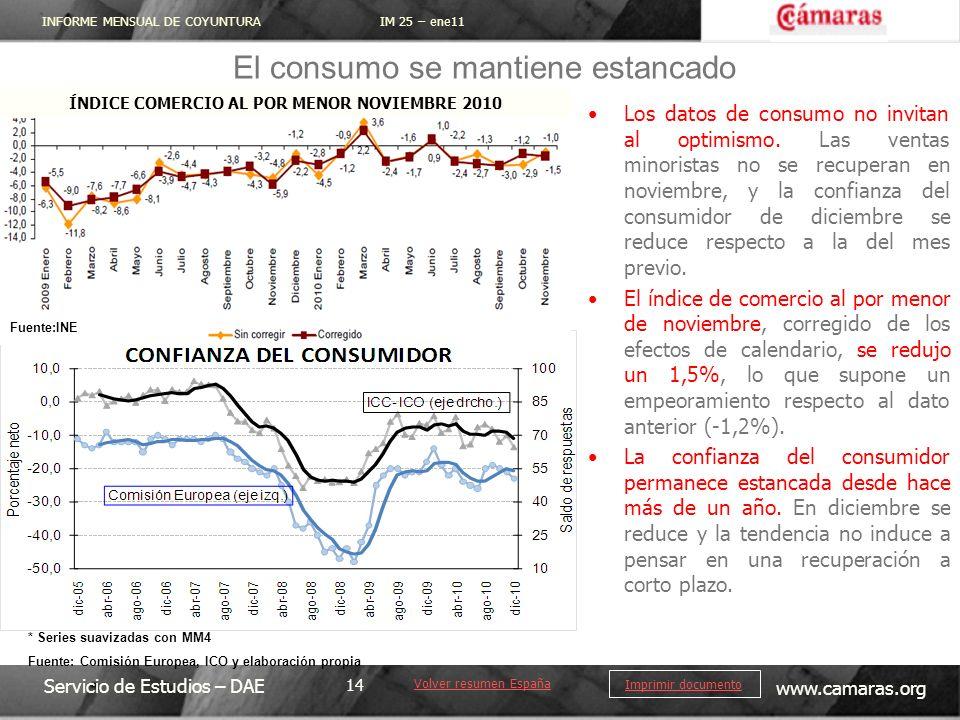 INFORME MENSUAL DE COYUNTURA IM 25 – ene11 Servicio de Estudios – DAE www.camaras.org 14 Imprimir documento Los datos de consumo no invitan al optimismo.