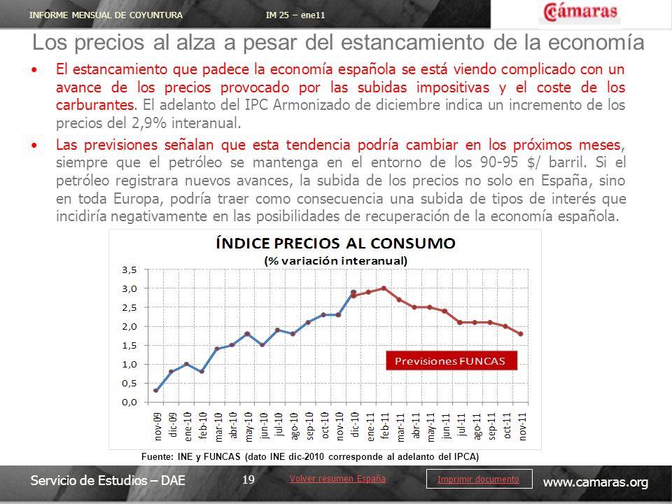 INFORME MENSUAL DE COYUNTURA IM 25 – ene11 Servicio de Estudios – DAE www.camaras.org 19 Imprimir documento El estancamiento que padece la economía es