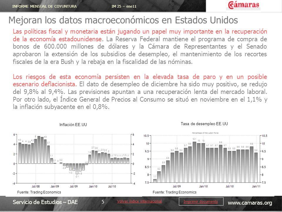 INFORME MENSUAL DE COYUNTURA IM 25 – ene11 Servicio de Estudios – DAE www.camaras.org 5 Imprimir documento Mejoran los datos macroeconómicos en Estado