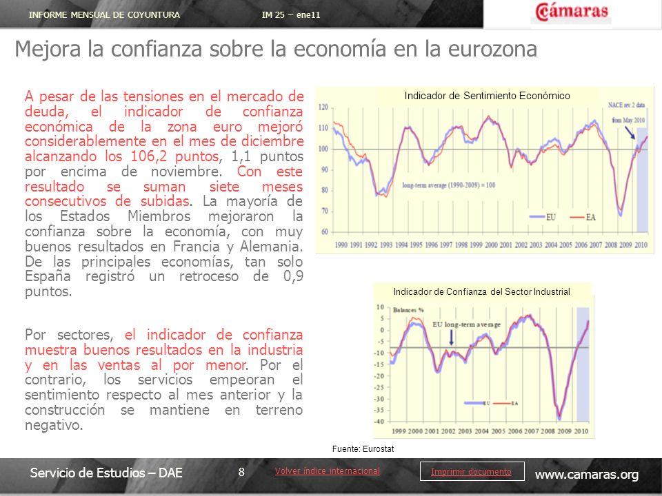 INFORME MENSUAL DE COYUNTURA IM 25 – ene11 Servicio de Estudios – DAE www.camaras.org 8 Imprimir documento Mejora la confianza sobre la economía en la