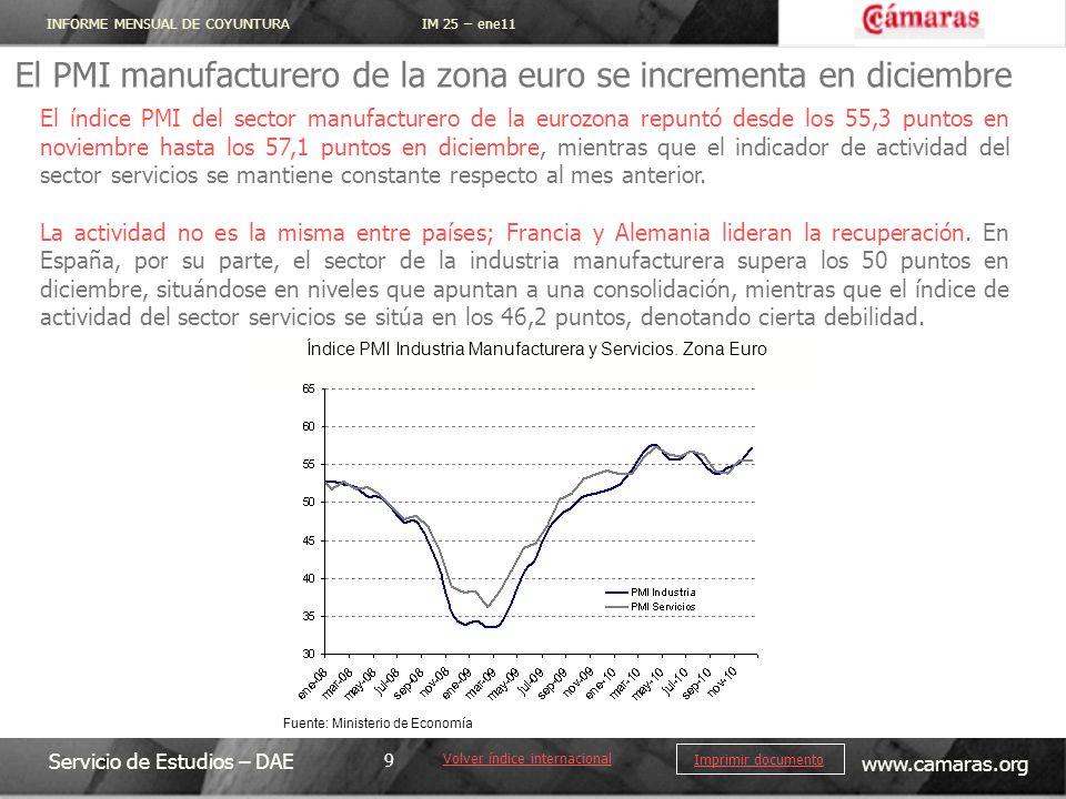 INFORME MENSUAL DE COYUNTURA IM 25 – ene11 Servicio de Estudios – DAE www.camaras.org 9 Imprimir documento El PMI manufacturero de la zona euro se inc