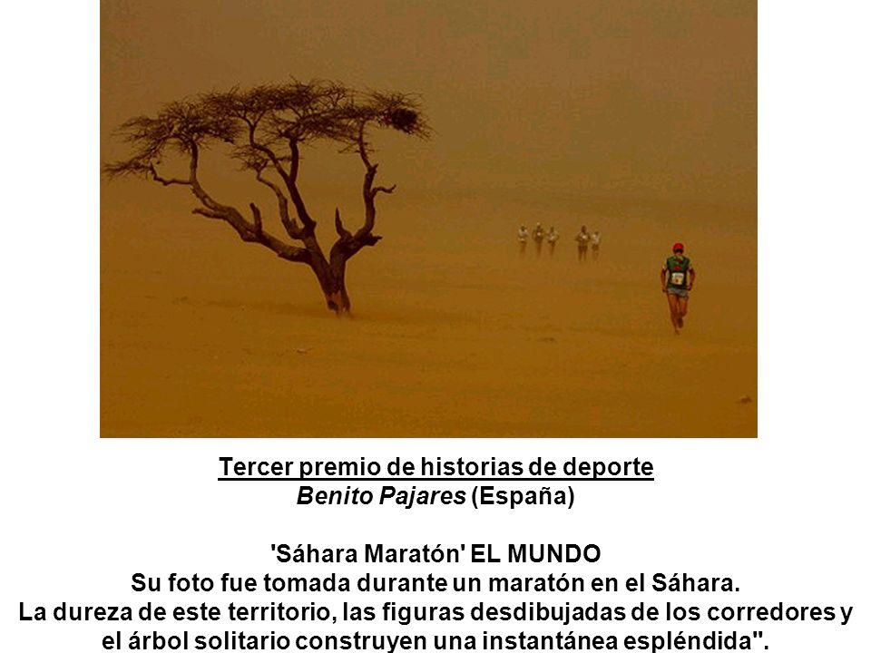 Tercer premio de historias de deporte Benito Pajares (España) 'Sáhara Maratón' EL MUNDO Su foto fue tomada durante un maratón en el Sáhara. La dureza