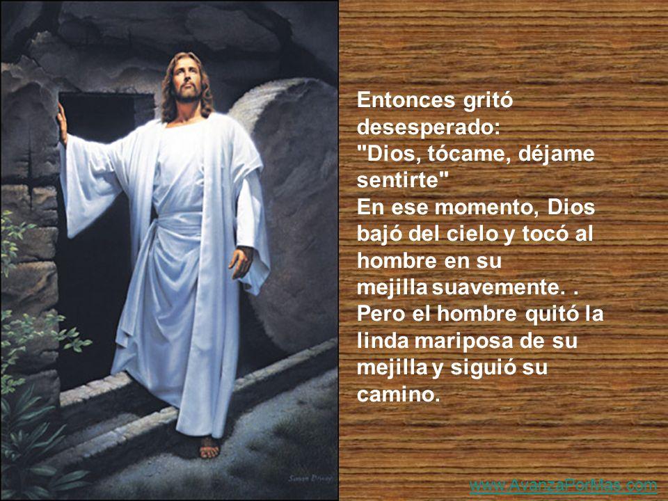 Entonces gritó desesperado: Dios, tócame, déjame sentirte En ese momento, Dios bajó del cielo y tocó al hombre en su mejilla suavemente..