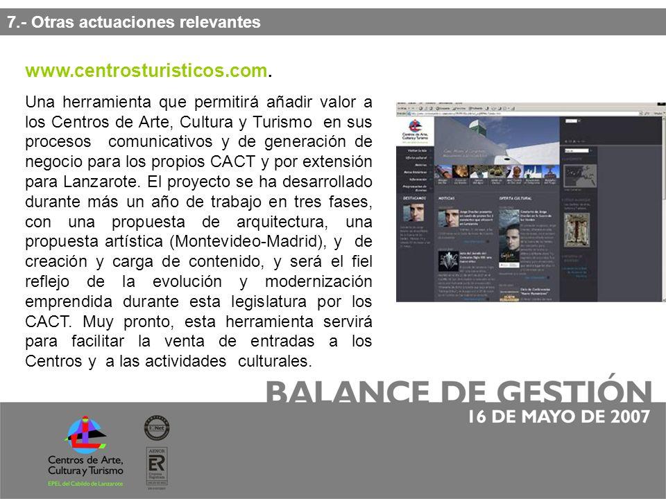 7.- Otras actuaciones relevantes www.centrosturisticos.com.