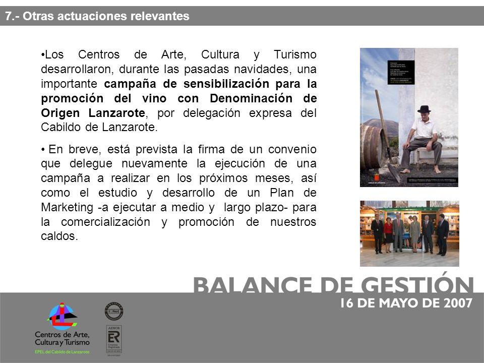 Los Centros de Arte, Cultura y Turismo desarrollaron, durante las pasadas navidades, una importante campaña de sensibilización para la promoción del vino con Denominación de Origen Lanzarote, por delegación expresa del Cabildo de Lanzarote.
