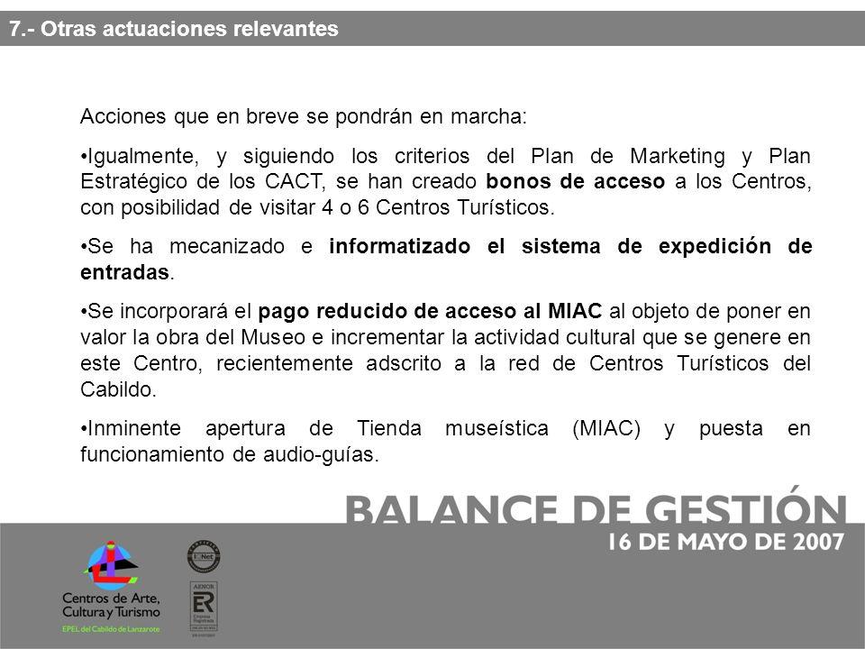 7.- Otras actuaciones relevantes Acciones que en breve se pondrán en marcha: Igualmente, y siguiendo los criterios del Plan de Marketing y Plan Estratégico de los CACT, se han creado bonos de acceso a los Centros, con posibilidad de visitar 4 o 6 Centros Turísticos.