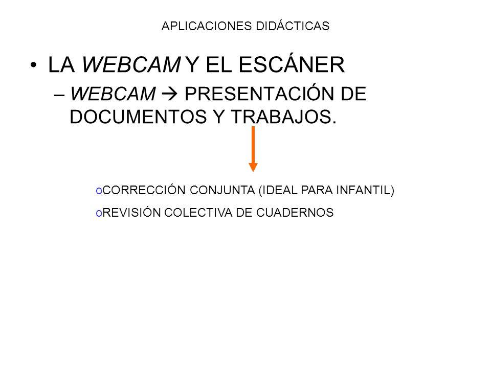 APLICACIONES DIDÁCTICAS LA WEBCAM Y EL ESCÁNER –W–WEBCAM PRESENTACIÓN DE DOCUMENTOS Y TRABAJOS. oCORRECCIÓN CONJUNTA (IDEAL PARA INFANTIL) oREVISIÓN C