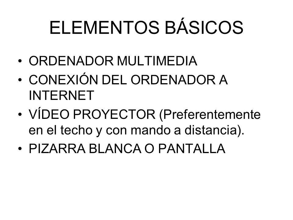 ELEMENTOS BÁSICOS ORDENADOR MULTIMEDIA CONEXIÓN DEL ORDENADOR A INTERNET VÍDEO PROYECTOR (Preferentemente en el techo y con mando a distancia). PIZARR