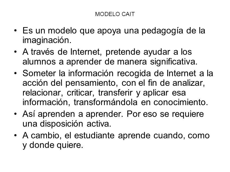 MODELO CAIT Es un modelo que apoya una pedagogía de la imaginación. A través de Internet, pretende ayudar a los alumnos a aprender de manera significa