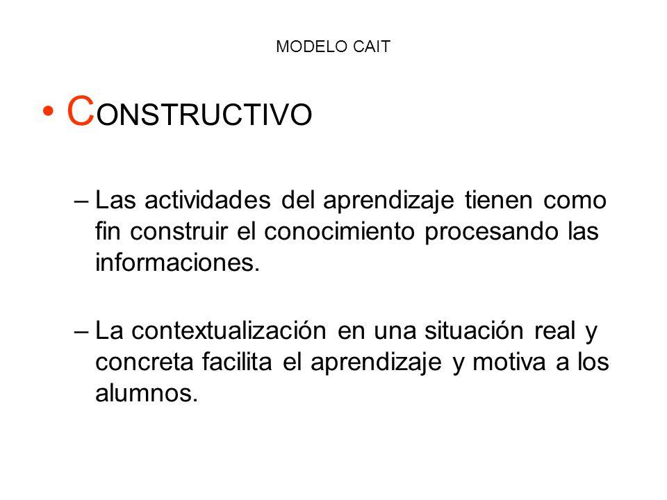 MODELO CAIT C ONSTRUCTIVO –Las actividades del aprendizaje tienen como fin construir el conocimiento procesando las informaciones. –La contextualizaci