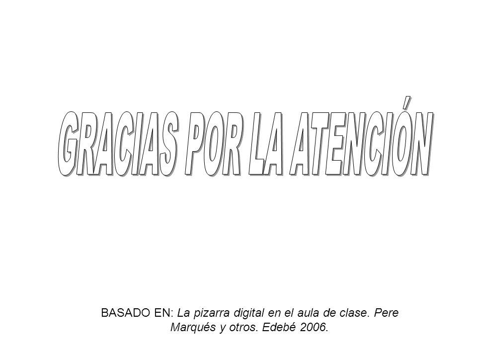 BASADO EN: La pizarra digital en el aula de clase. Pere Marqués y otros. Edebé 2006.
