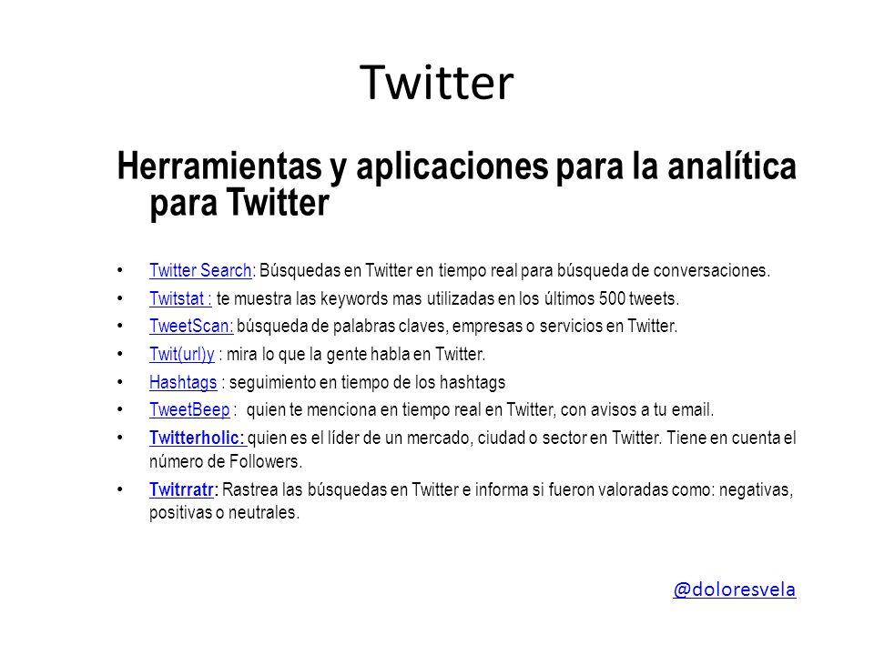 Twitter Herramientas y aplicaciones para la analítica para Twitter Twitter Search: Búsquedas en Twitter en tiempo real para búsqueda de conversaciones.