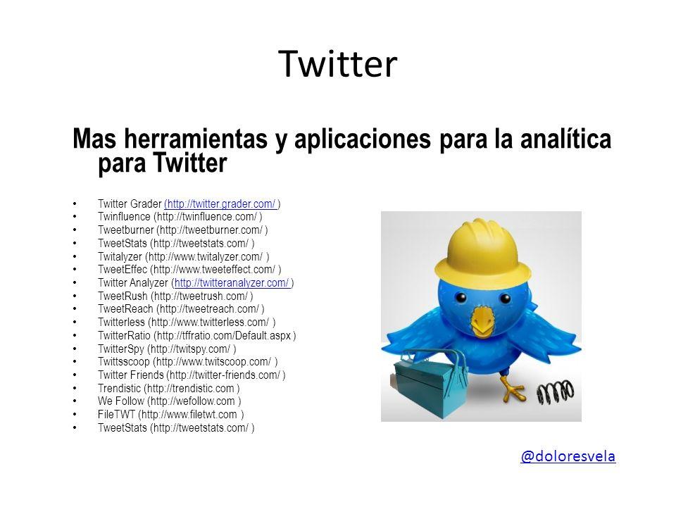 Twitter Mas herramientas y aplicaciones para la analítica para Twitter Twitter Grader (http://twitter.grader.com/ )(http://twitter.grader.com/ Twinflu
