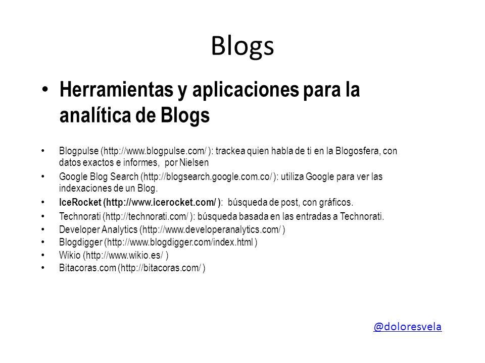 Blogs Herramientas y aplicaciones para la analítica de Blogs Blogpulse (http://www.blogpulse.com/ ): trackea quien habla de ti en la Blogosfera, con datos exactos e informes, por Nielsen Google Blog Search (http://blogsearch.google.com.co/ ): utiliza Google para ver las indexaciones de un Blog.