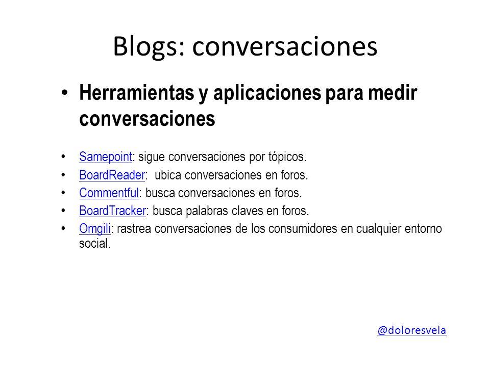 Blogs: conversaciones Herramientas y aplicaciones para medir conversaciones Samepoint: sigue conversaciones por tópicos.
