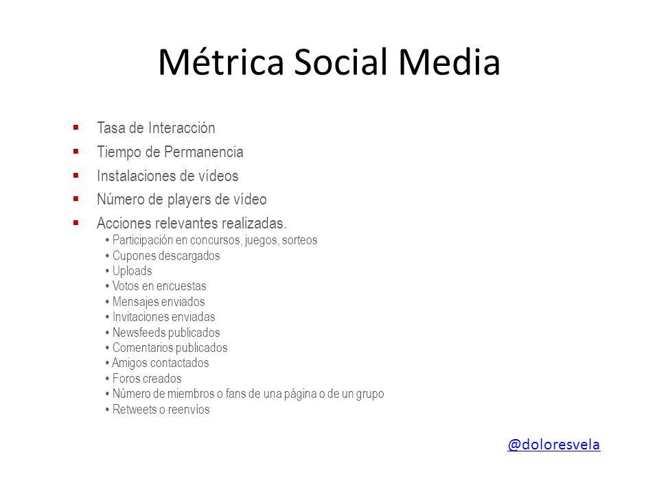 Métrica Social Media Tasa de Interacción Tiempo de Permanencia Instalaciones de vídeos Número de players de vídeo Acciones relevantes realizadas.