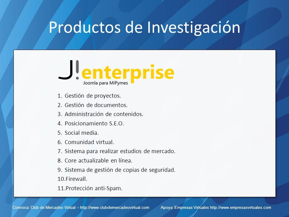 Convoca: Club de Mercadeo Virtual – http://www.clubdemercadeovirtual.com Apoya: Empresas Virtuales http://www.empresasvirtuales.com Productos de Investigación 1.Gestión de proyectos.