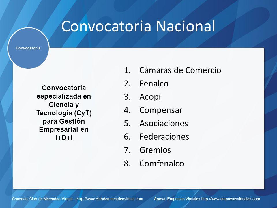 Convoca: Club de Mercadeo Virtual – http://www.clubdemercadeovirtual.com Apoya: Empresas Virtuales http://www.empresasvirtuales.com Convocatoria Nacional 1.Cámaras de Comercio 2.Fenalco 3.Acopi 4.Compensar 5.Asociaciones 6.Federaciones 7.Gremios 8.Comfenalco Convocatoria Convocatoria especializada en Ciencia y Tecnología (CyT) para Gestión Empresarial en I+D+i