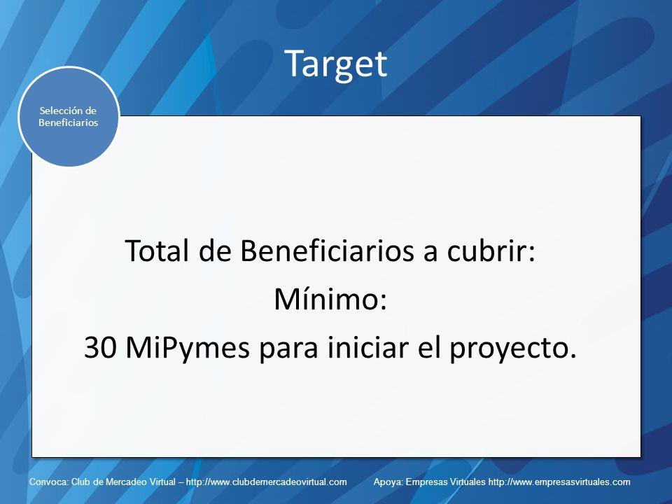 Convoca: Club de Mercadeo Virtual – http://www.clubdemercadeovirtual.com Apoya: Empresas Virtuales http://www.empresasvirtuales.com Target Total de Beneficiarios a cubrir: Mínimo: 30 MiPymes para iniciar el proyecto.