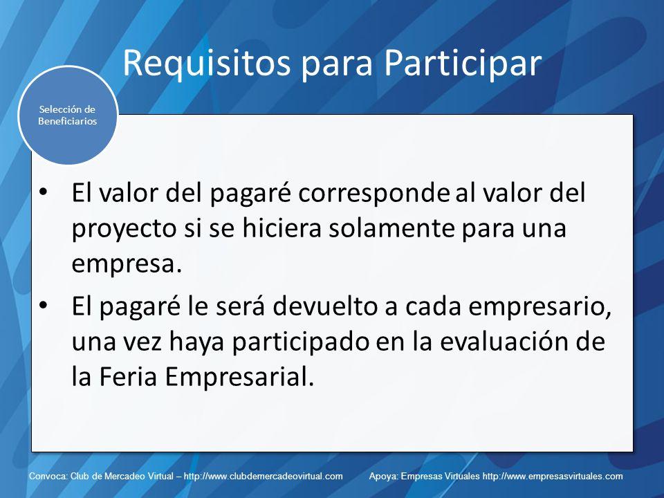 Convoca: Club de Mercadeo Virtual – http://www.clubdemercadeovirtual.com Apoya: Empresas Virtuales http://www.empresasvirtuales.com Requisitos para Participar El valor del pagaré corresponde al valor del proyecto si se hiciera solamente para una empresa.