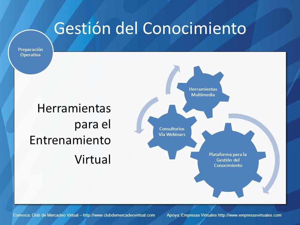 Convoca: Club de Mercadeo Virtual – http://www.clubdemercadeovirtual.com Apoya: Empresas Virtuales http://www.empresasvirtuales.com Gestión del Conocimiento Herramientas para el Entrenamiento Virtual Preparación Operativa Plataforma para la Gestión del Conocimiento Consultorios Vía Webinars Herramientas Multimedia