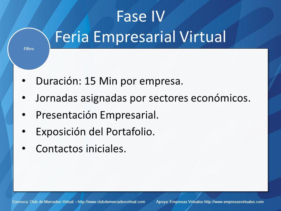 Convoca: Club de Mercadeo Virtual – http://www.clubdemercadeovirtual.com Apoya: Empresas Virtuales http://www.empresasvirtuales.com Fase IV Feria Empresarial Virtual Duración: 15 Min por empresa.